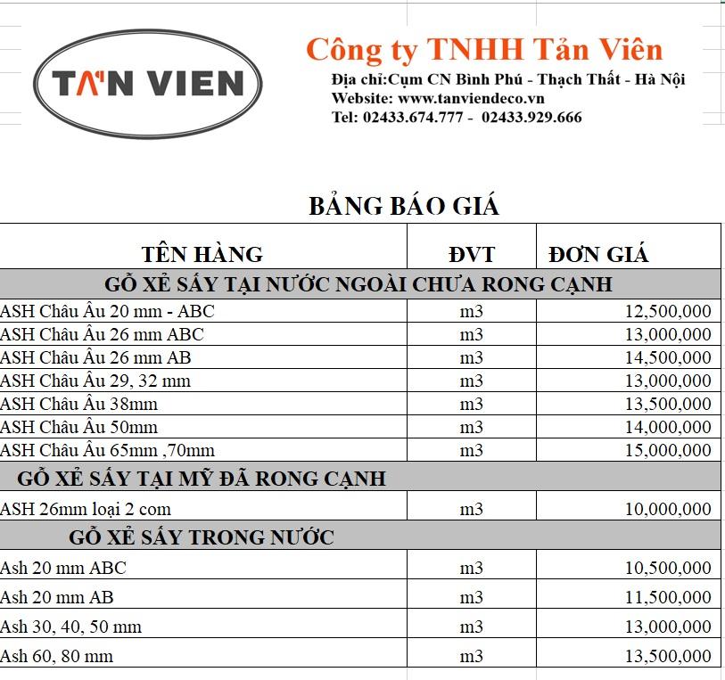 Bảng giá gỗ sồi Nga tại Hà Nội