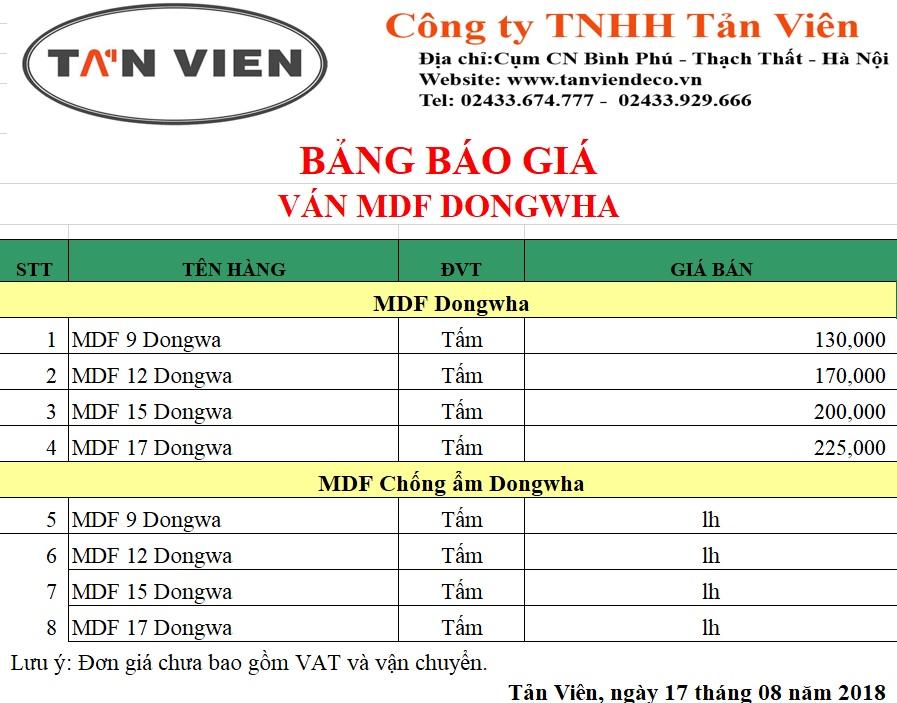 Báo giá ván gỗ MDF Dongwha