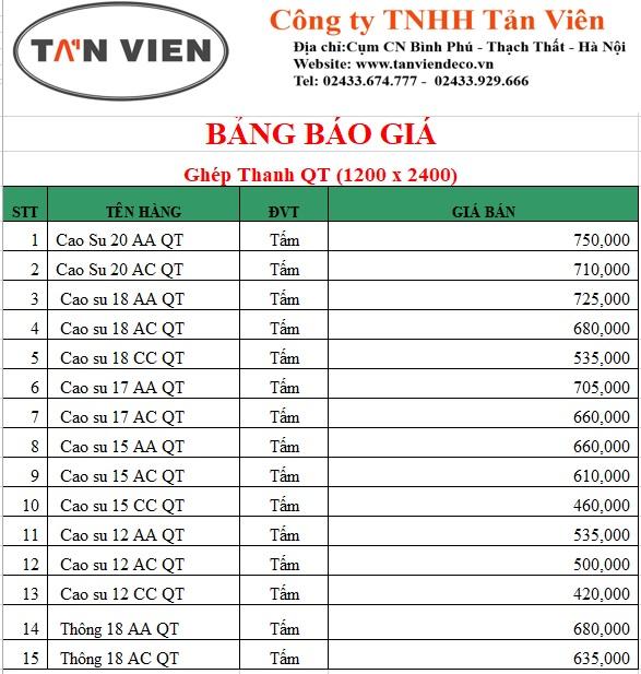 Bảng giá cao su ghép thanh tại Hà Nội